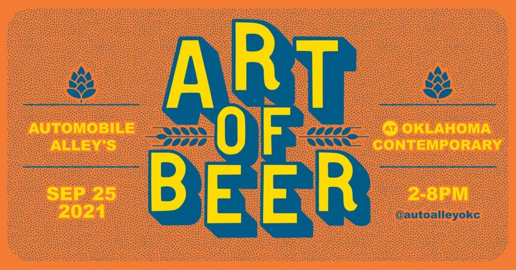"""Graphic with an orange background and the words """"ART OF BEER"""" in the center"""