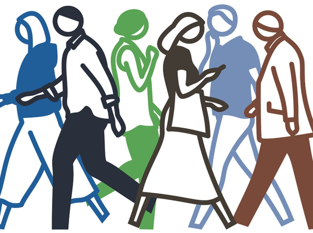 An artwork depicts six figures walking in different directions, rendered in simple but colorful line drawings