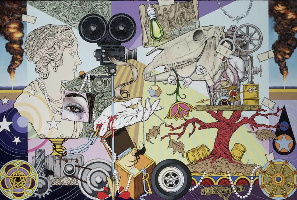 A collage of various drawn humanoid, circular and natural images