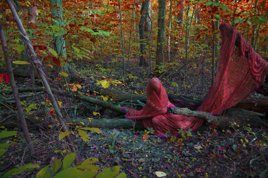 A photograph of a figure hidden by draping red cloth in a forest with green, red, orange and brown leaves