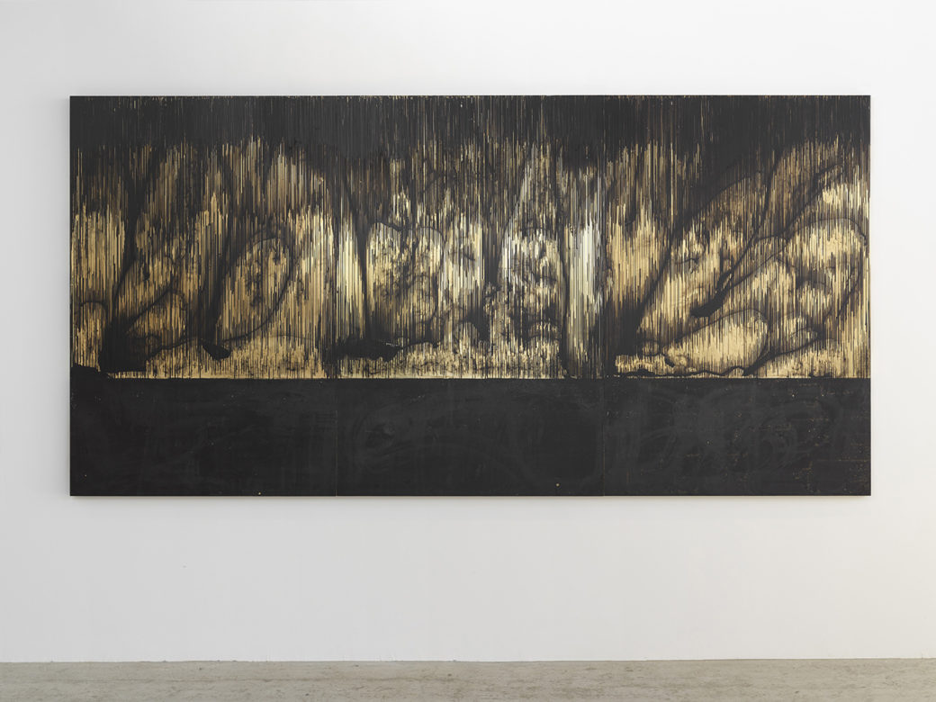 A painting features dark lines on a metallic background forming an abstract landscape