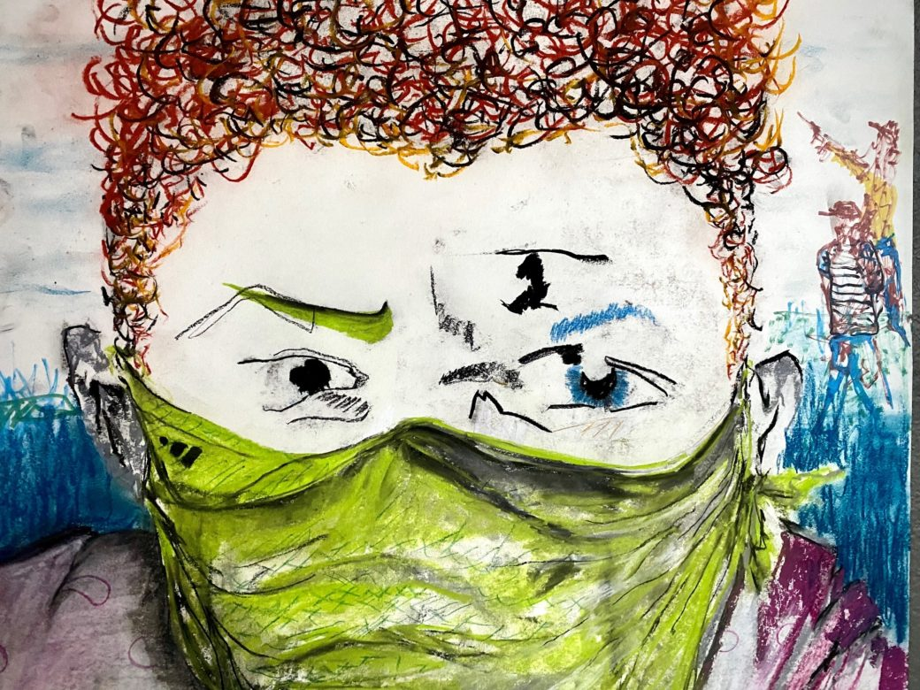 A drawing tightly cropped around the face of a person wearing a mask