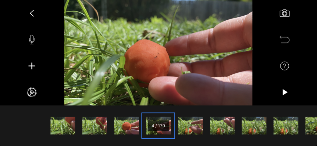 A screenshot from a stop-motion animation app, featuring a hand staging a small ball of orange dough in the grass