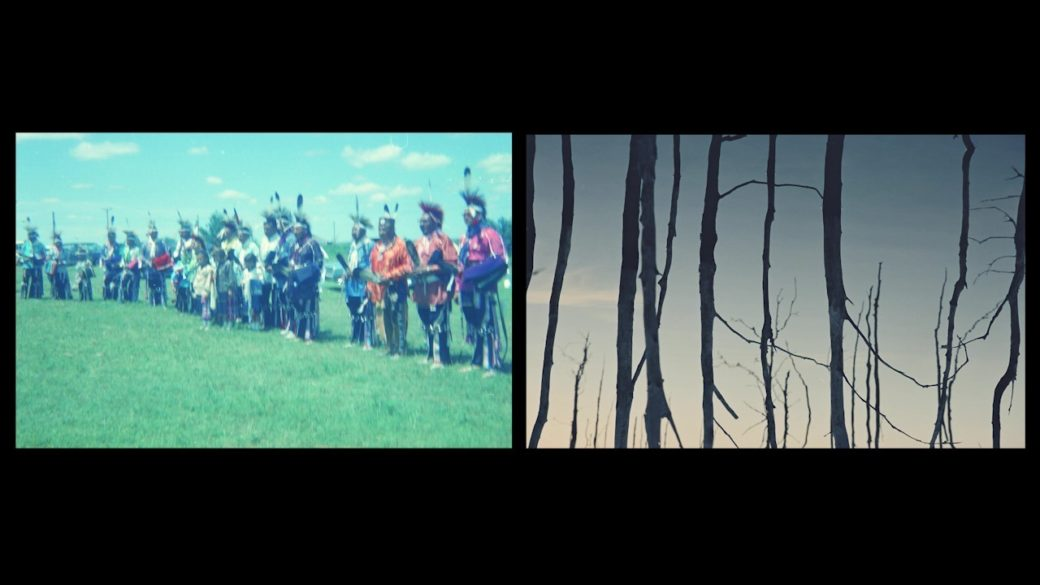A still image from a film depicts two video channels: one features Indigenous people in Native regalia, and the other depicts an artistic photograph of tree branches reflected on water