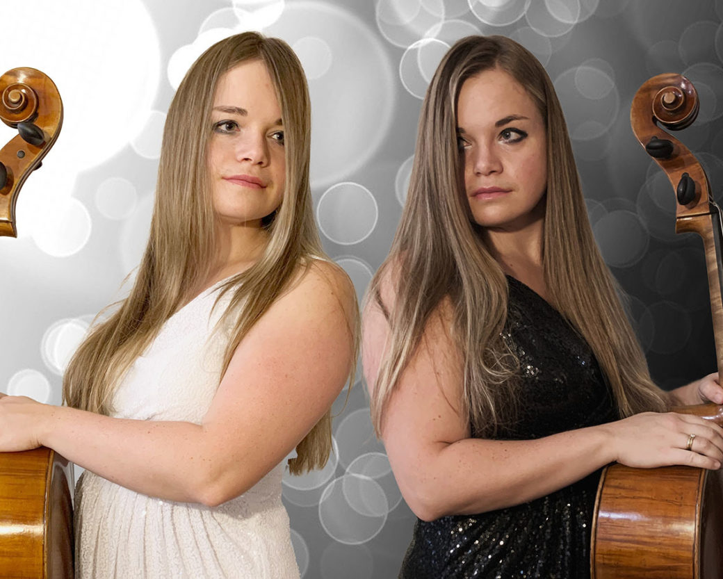 Cellist appears in dual image with cello and circle pattern in background