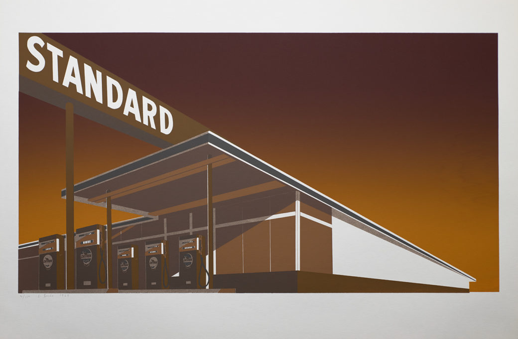 "A sepia-toned drawing of a 1950's gas station with the name ""Standard"" on a large sign over the awning"