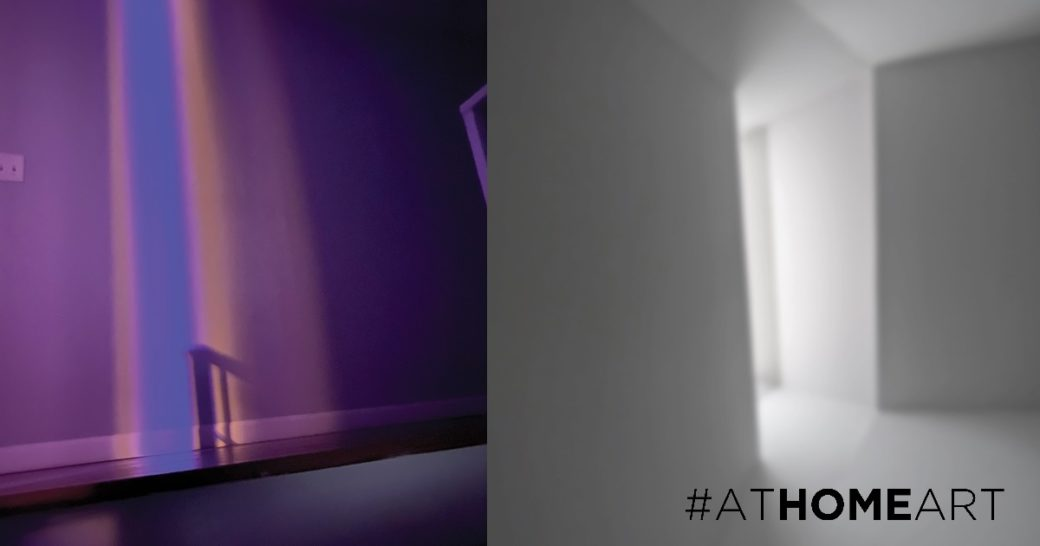 Two images: the left features purple, blue and orange light on a wall and the right shows white light coming into a dark room through a space between white walls
