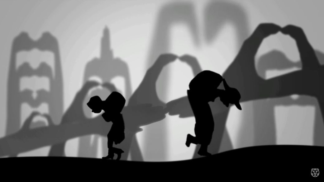 A black and white animation of two figures walking in opposite directions against a background of hands casting shadows