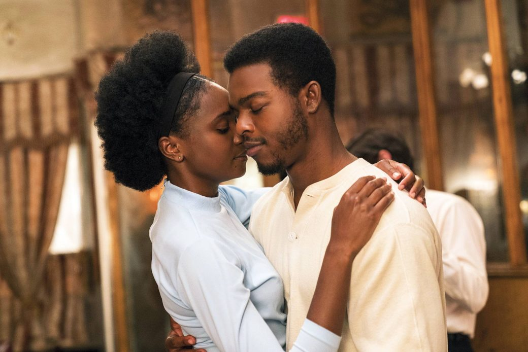 A scene from the film If Beale Street Could Talk, with figures embracing lovingly