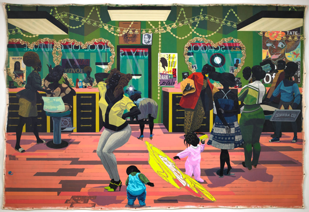 A vibrant painting depicts black figures in various poses and expressions of liveliness