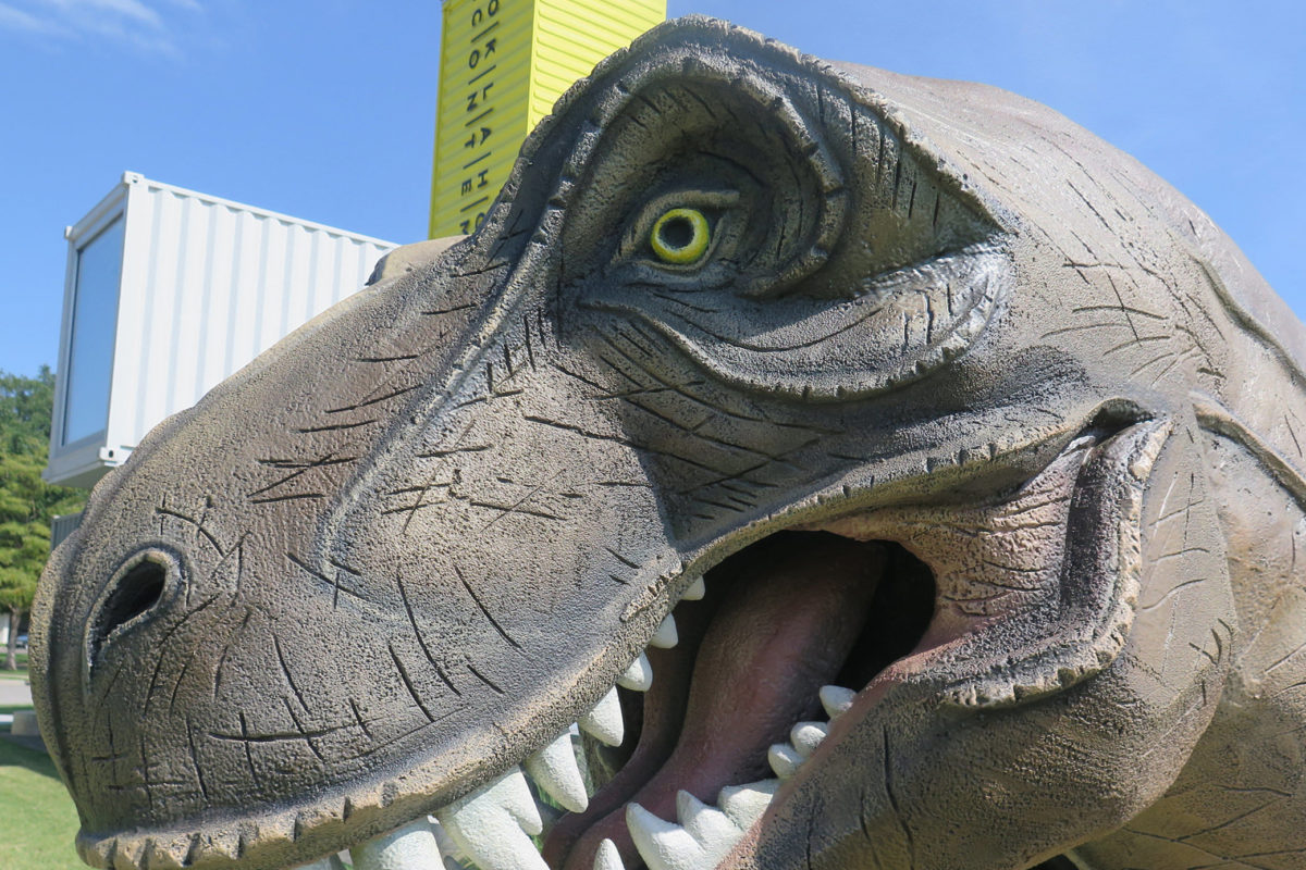 A close-up photo of a large dinosaur sculpture with gaping mouth, gray-green skin and yellow eyes standing in front of a building made of shipping containers