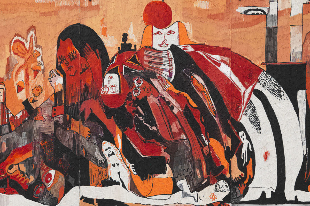A mural of red and orange figures intertwine through and around each other