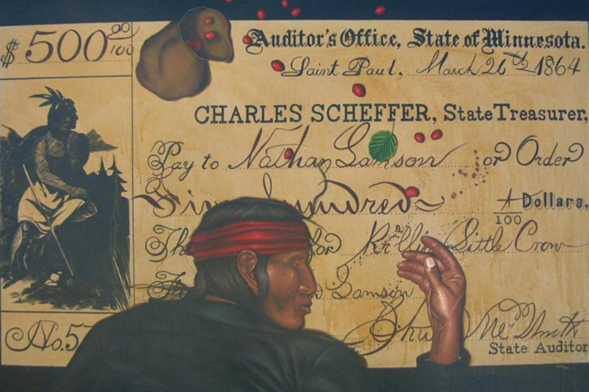 A painting of a Native man looking at his hand in front of a 1864 check for $500