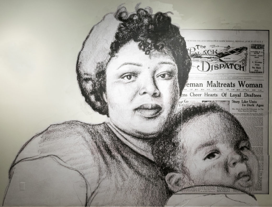 A large sketch of a dark-skinned woman and baby placed in front of newspaper called The BLACK DISPATCH