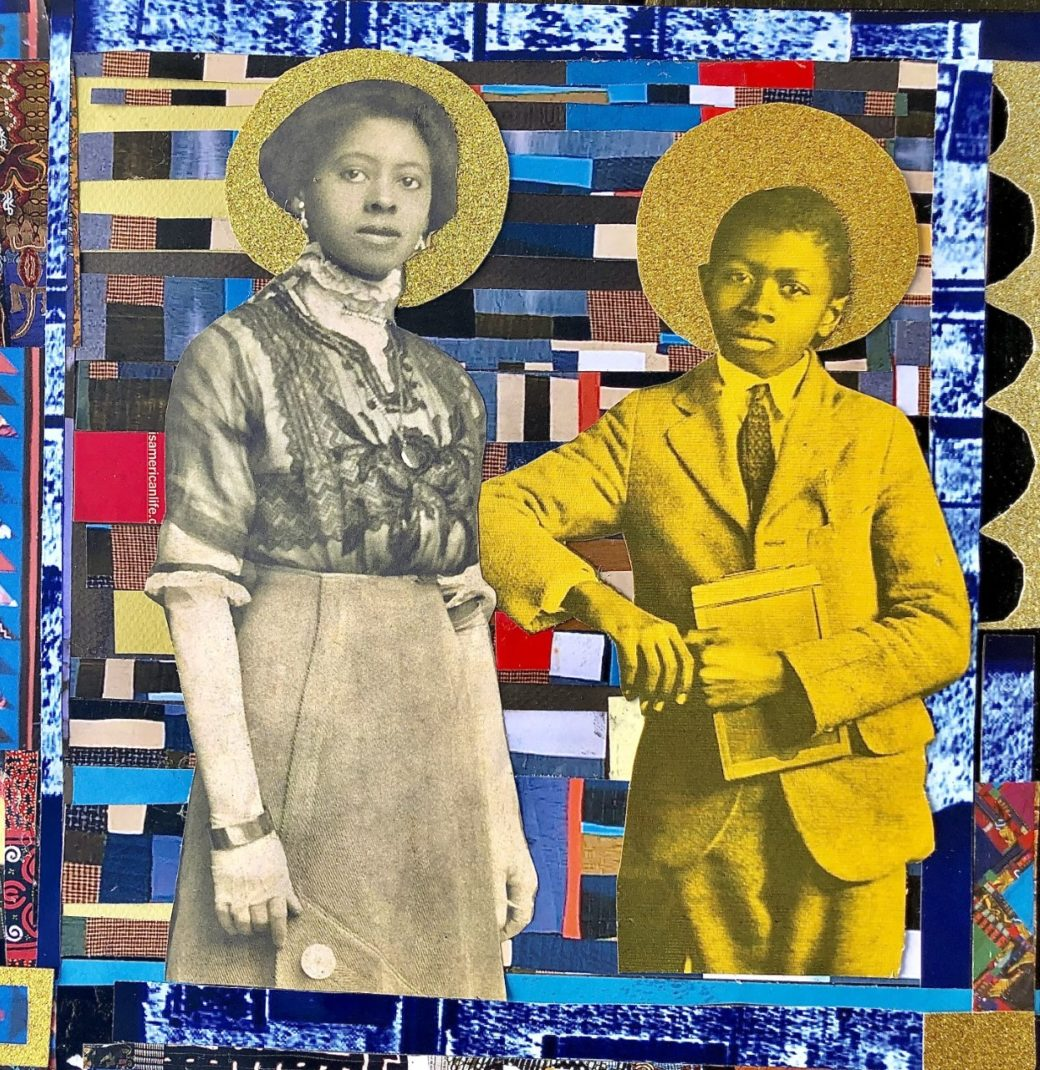 A collaged image of a mother and her son