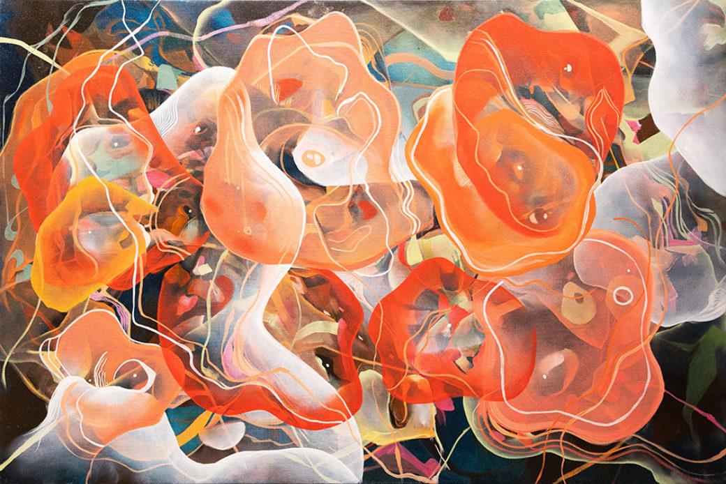 A swirl of amoeba-like colors and shapes