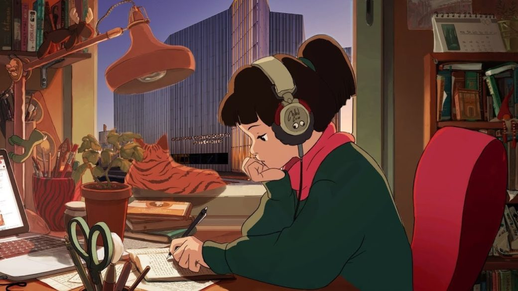 An animation of a young adult wearing headphones and writing in a notebook as an orange cat gazes out the window at a dramatic, metallic building