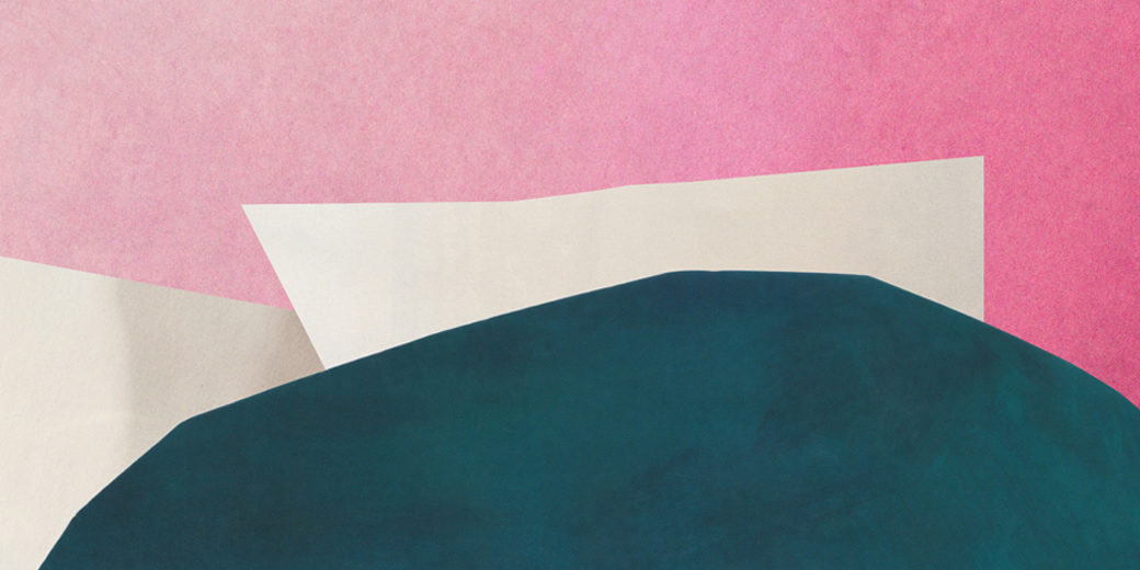 An abstract landscape featuring soft green, beige and pink