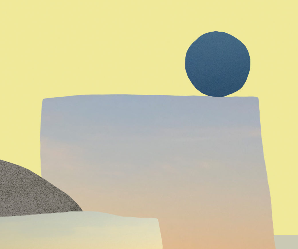 An abstract landscape composed of a circle, a quarter-circle and two rectangular shapes set against a soft yellow approximation of sky