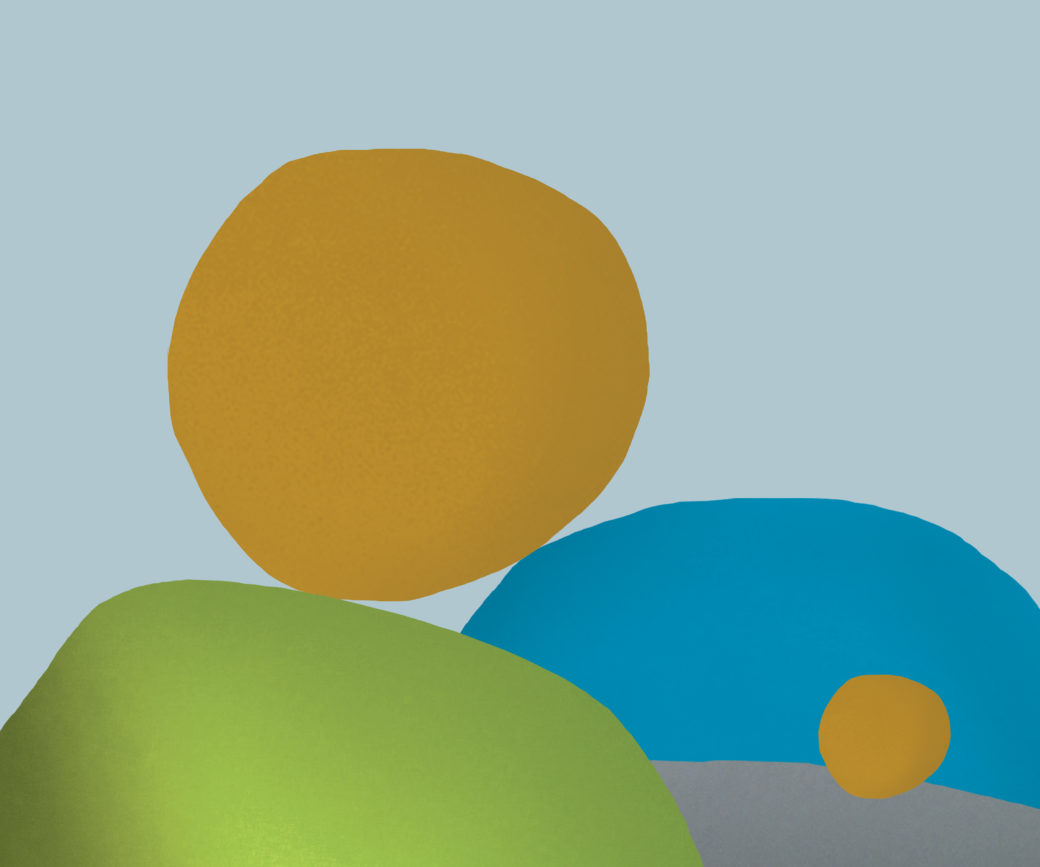 An abstract composition featuring three large spherical shapes in muted yellow, green and blue