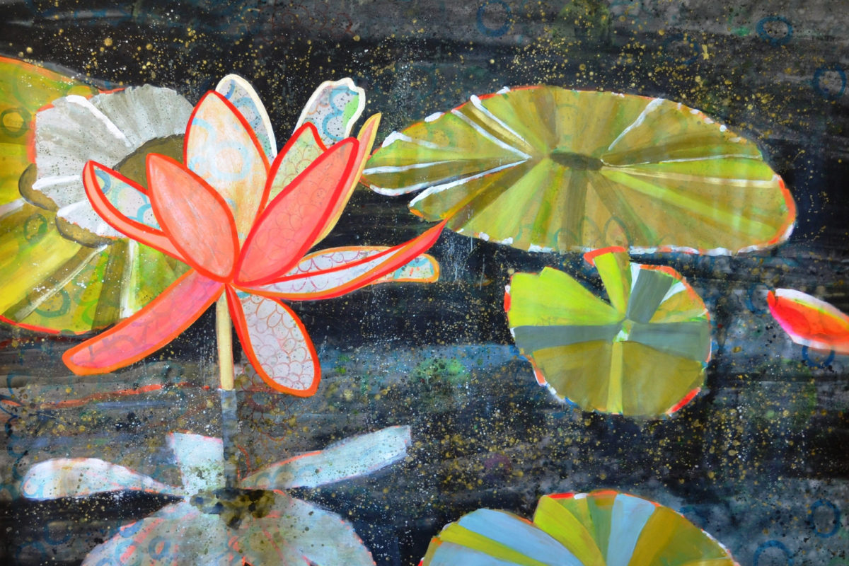 A painting with green lily pads and pink flowers among black and blue water