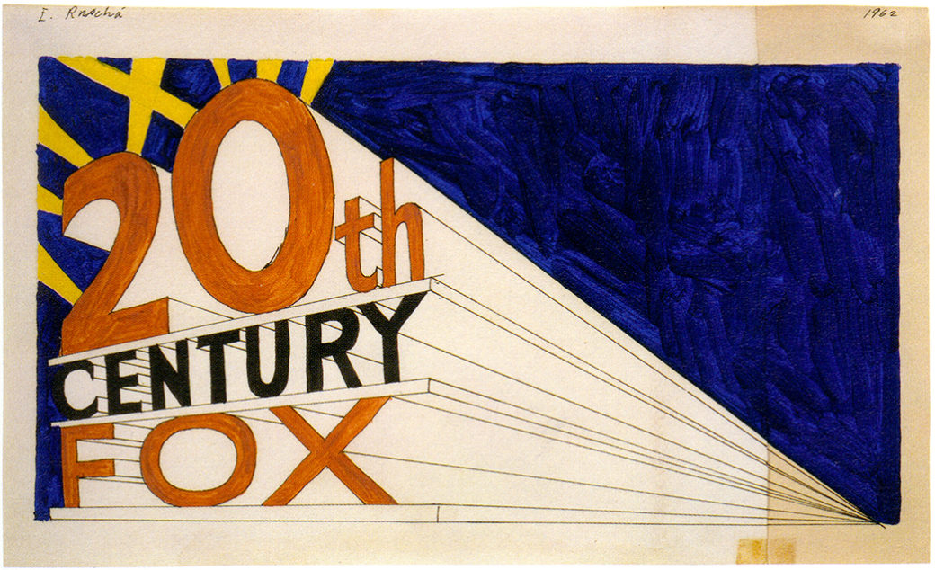 A color drawing of the 20th Century Fox logo with spotlights behind it