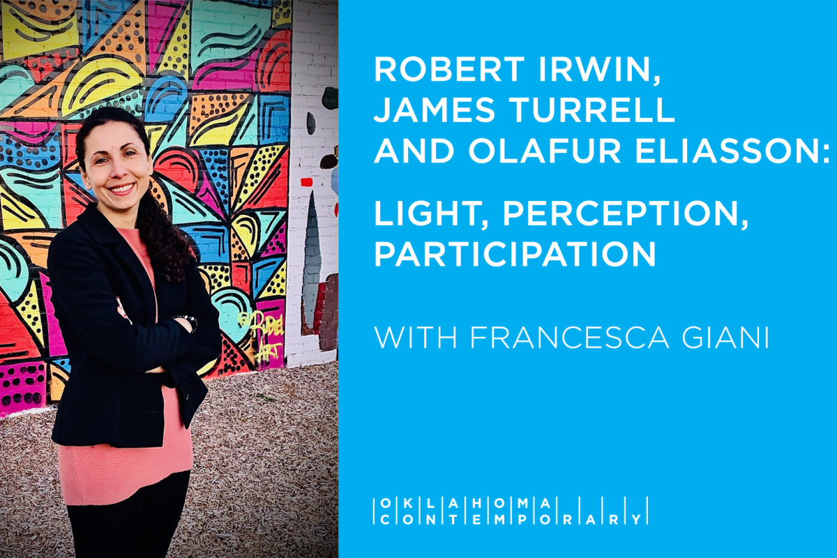 """A slide featuring a photo of a woman in front of a mural next to a text panel reading """"Robert Irwin, James Turrell and Olafur Eliasson: Light, Perception and Participation"""""""