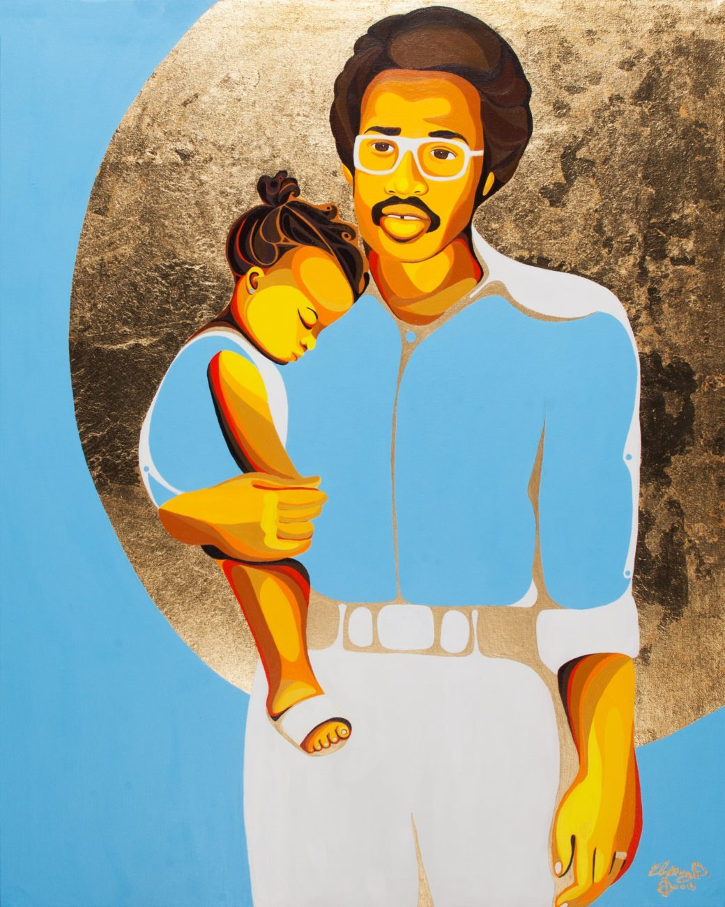 A painting of a Black man in glasses and a blue shirt holding a small child