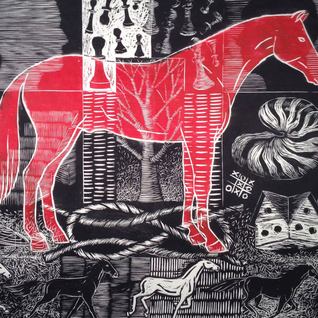 A drawing of a red horse superimposed over black-and-white  etched images