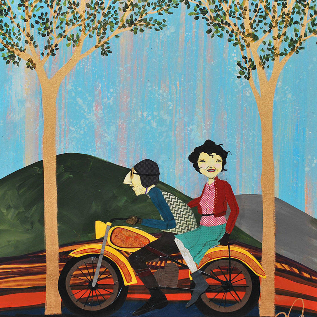 A painting of a driver and a passenger on a motorcycle between trees