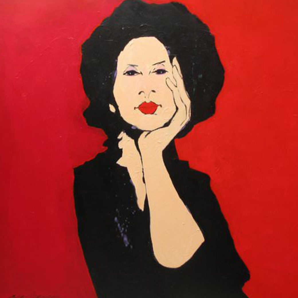 A painting of a person dressed in black and holding their head in their hand against a red background