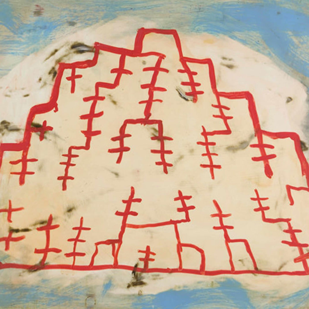 A drawing of a jagged white shape outlined in red with barbed extensions on a blue and white background