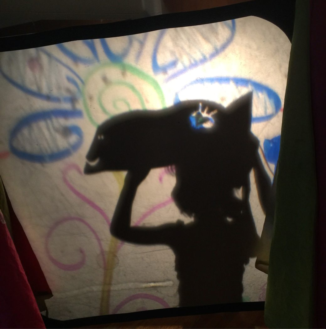Shadow of a child with a puppet mask