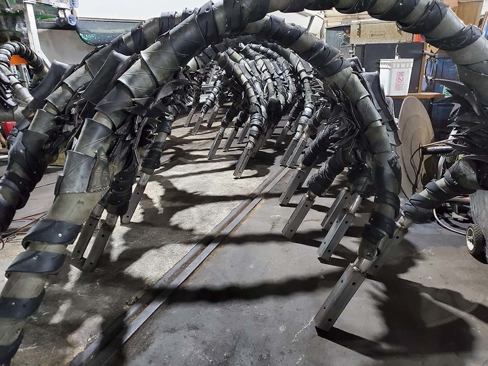 A section of an art piece made from used tires