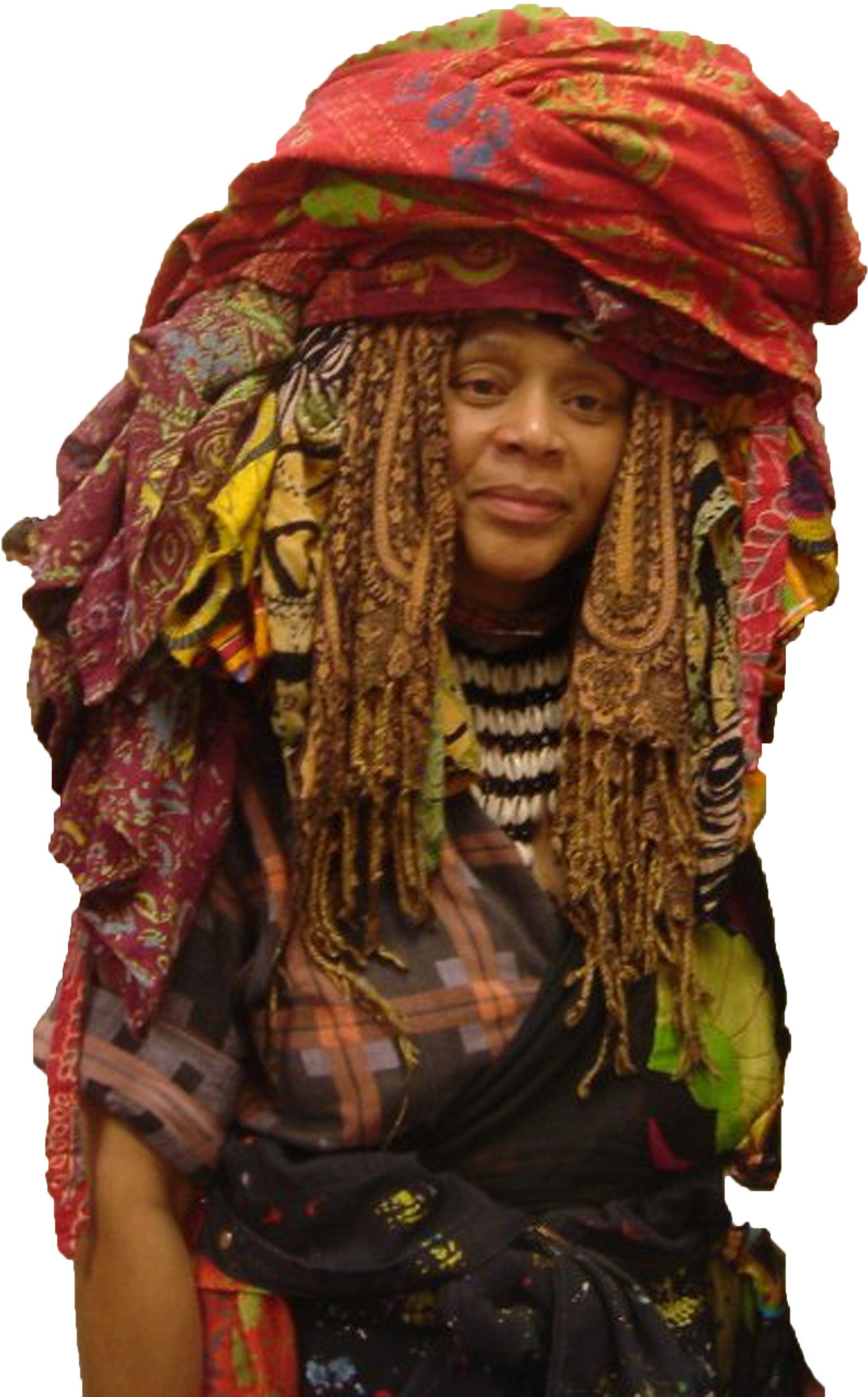 A person wearing an elaborate headdress