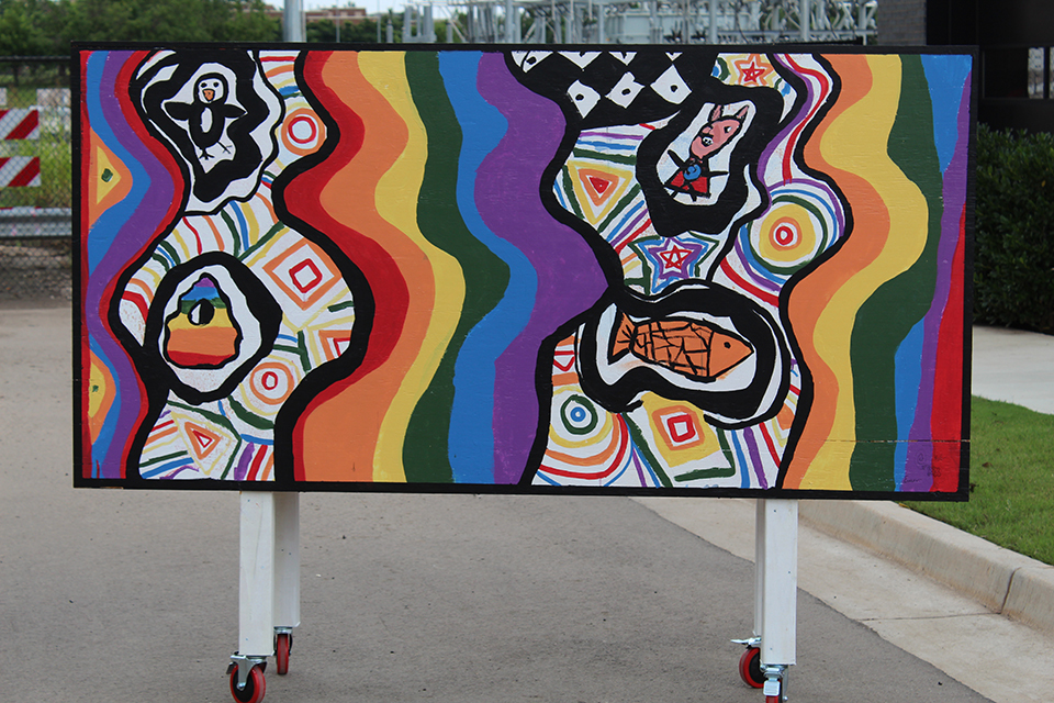 An abstract mural created by children