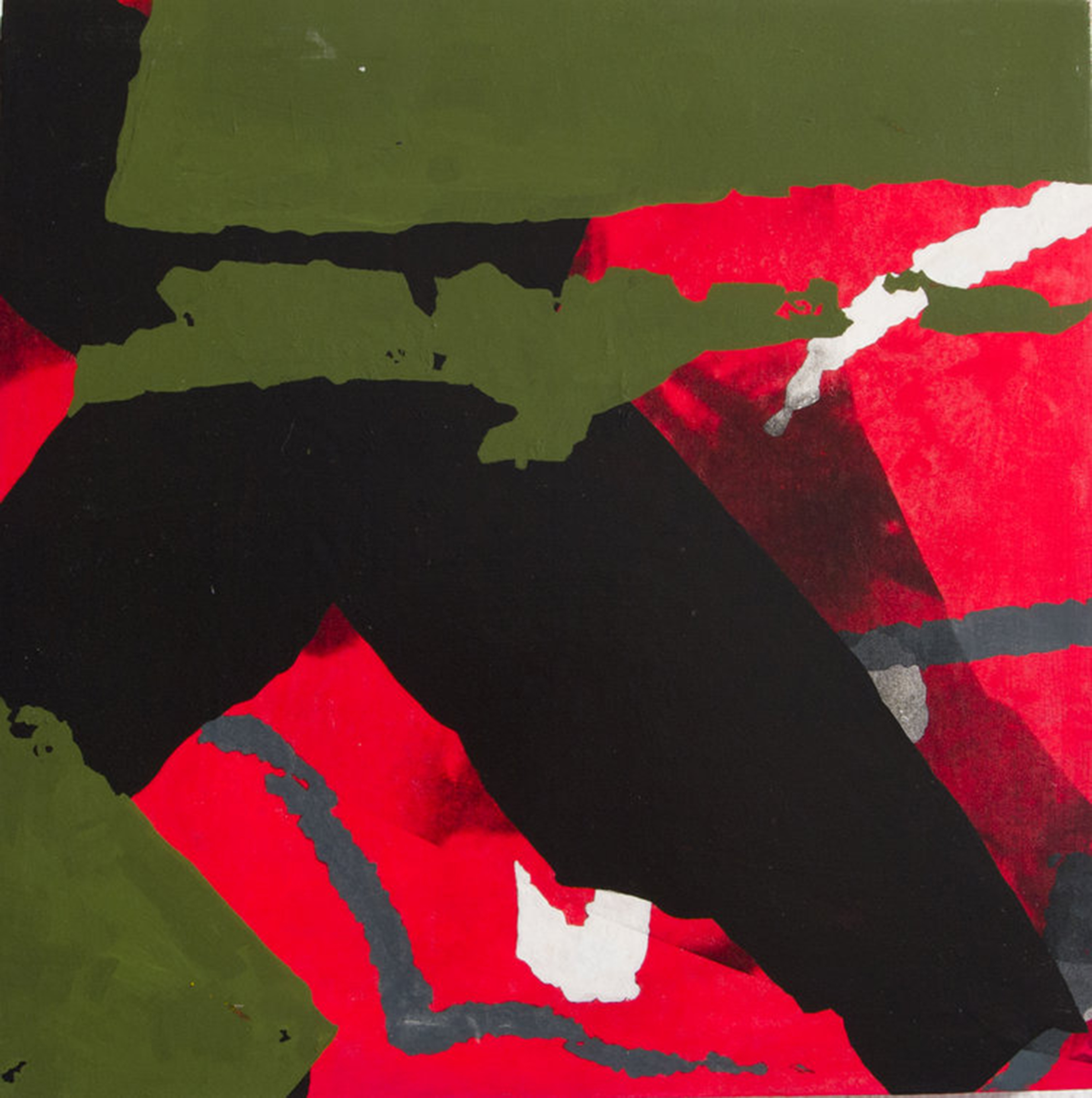 Green, red, black and white abstractions