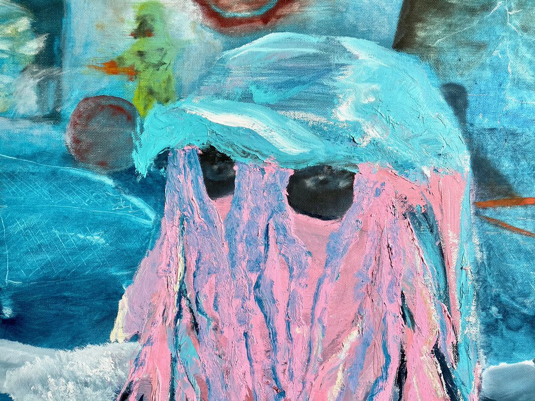 Eyes look out from a colorful blue-and-pink abstract painting resembling a portrait of a human face