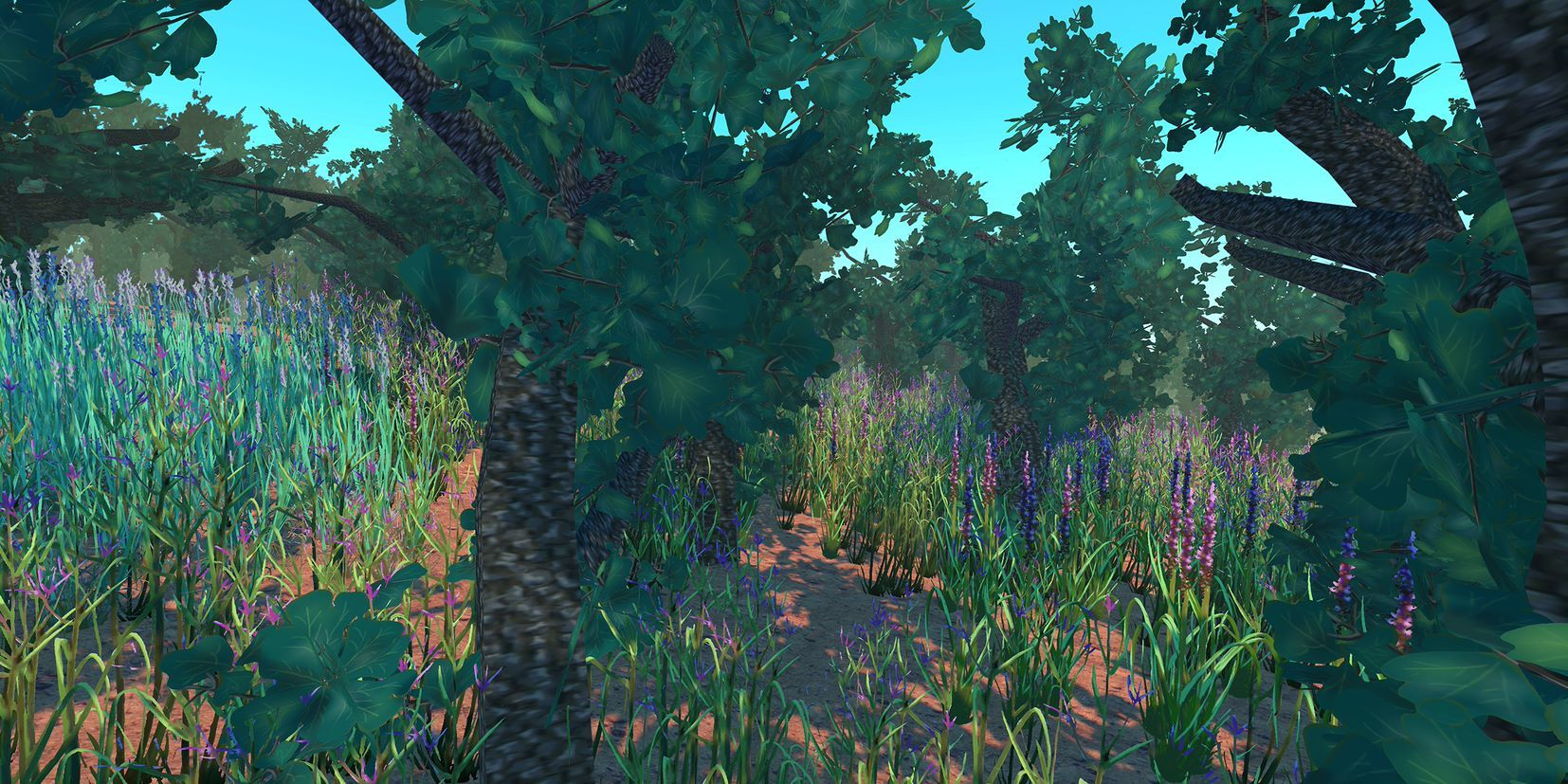 A digital rendering of oak trees and native grasses