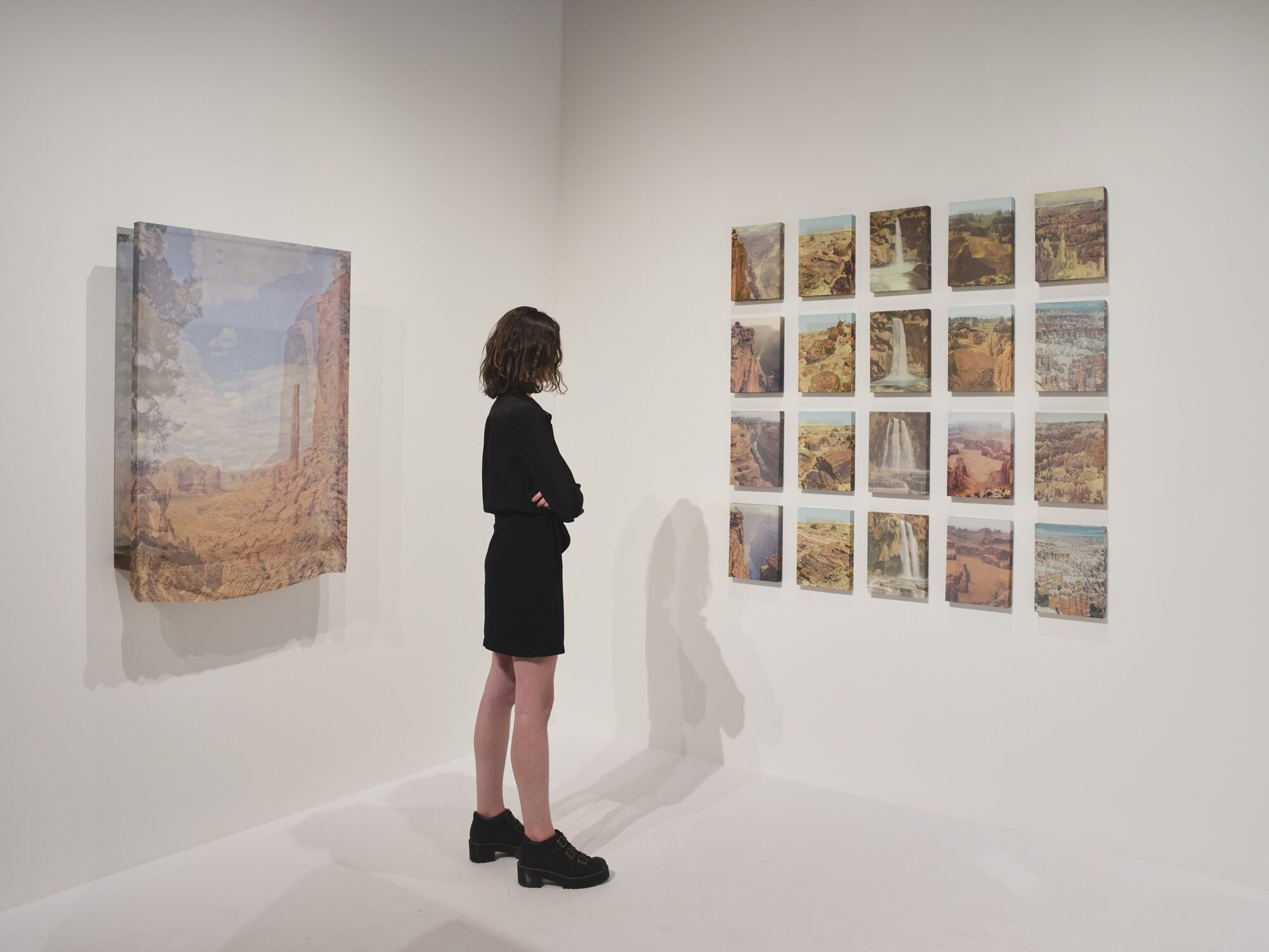An adult stands in front of a grid of 20 small landscapes hung on a wall