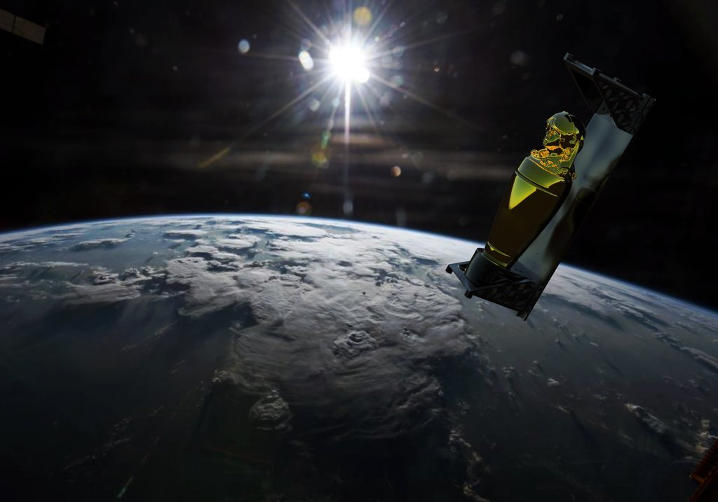 A golden shrine in the likeness of an astronaut orbits the earth in a digitally rendered image