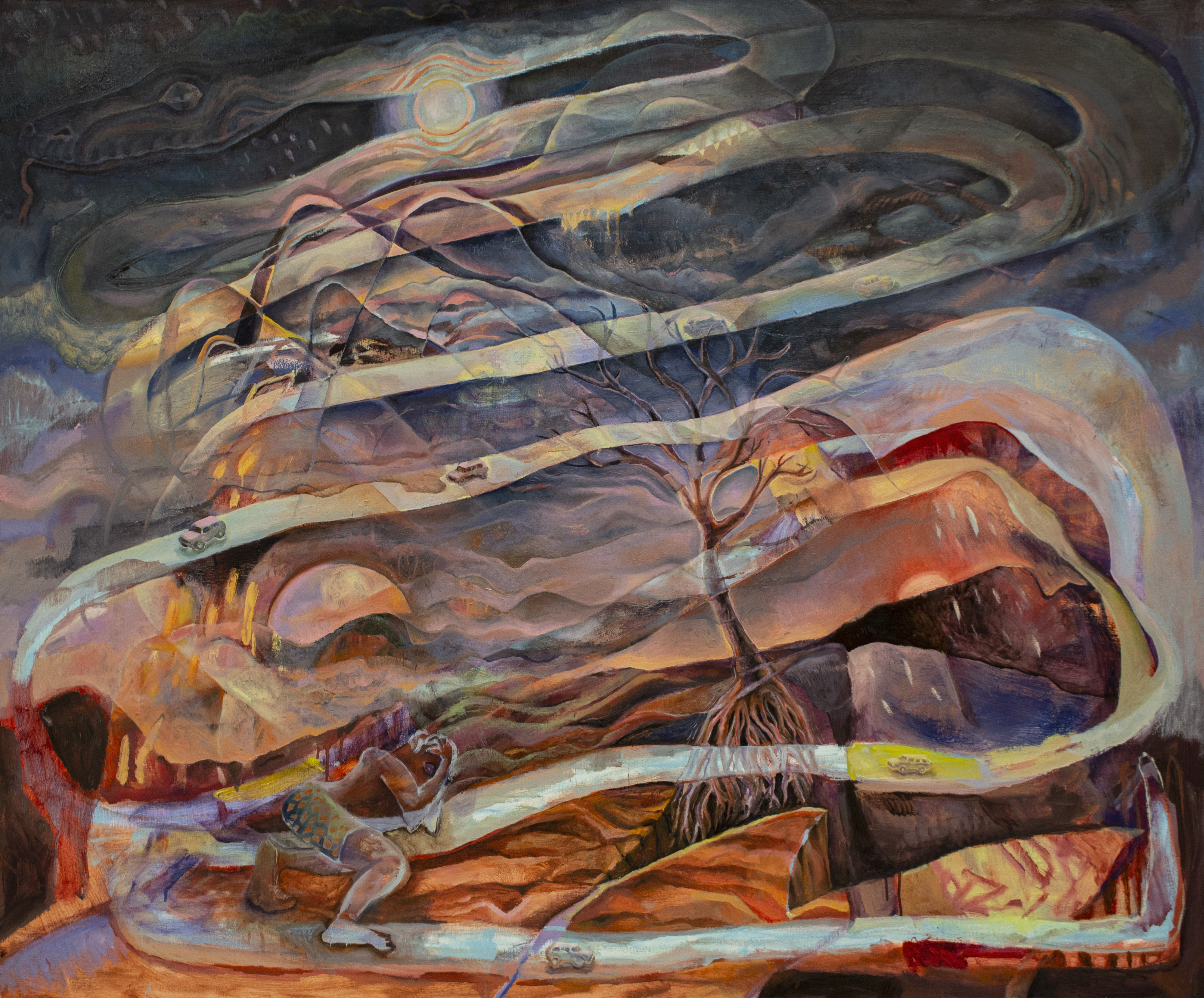 An oil painting shows parts of figures in a mountainous landscape amid swirling, foggy lines that could be a road but culminate in the head of a snake