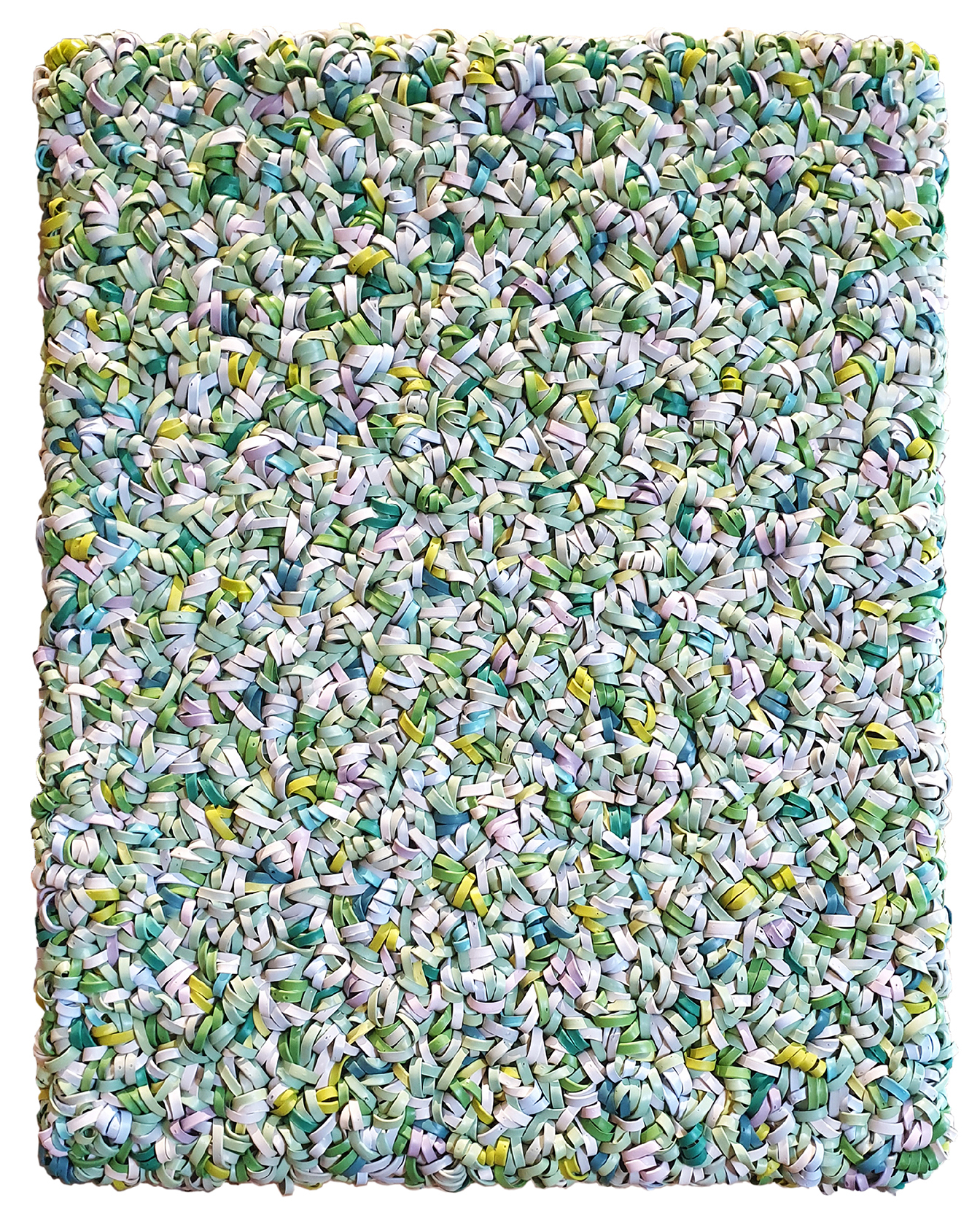 A mixed-media art piece of small, pastel twisted pieces of plastic that appear like a textile
