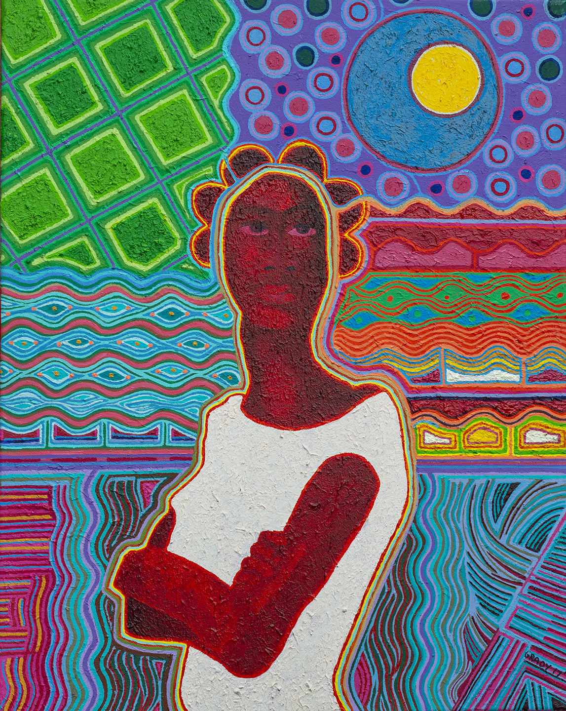 A painting of dark-skinned figure in a white tunic against a background of multiple brightly colored geometric textures