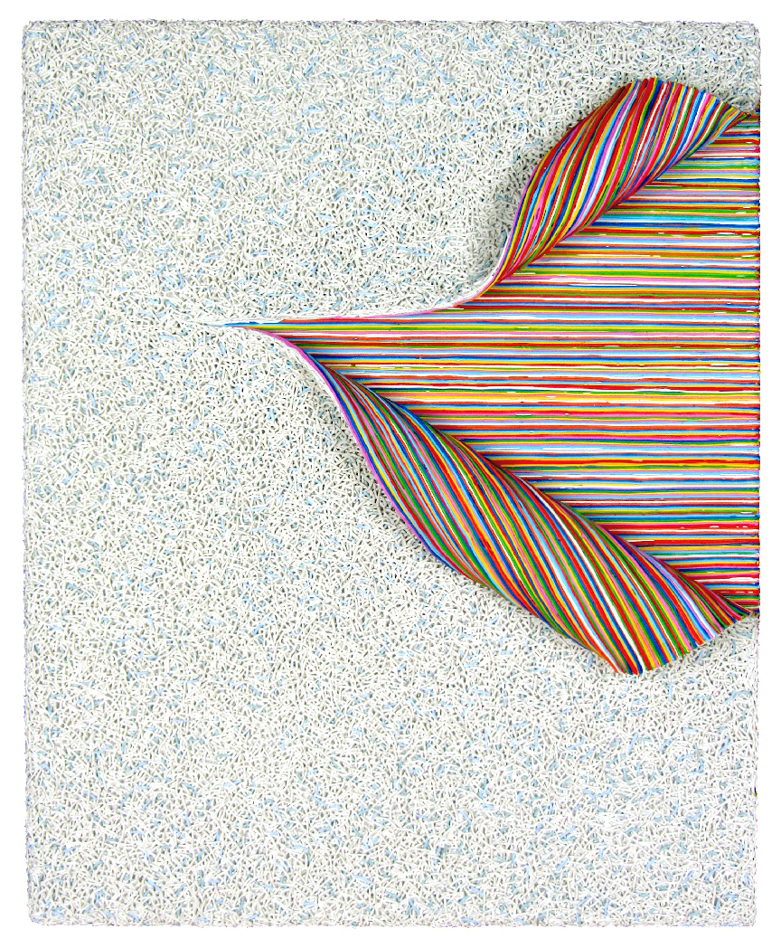 A 3-D painting that looks like a piece of ceramic tile (with small white, blue and gray textures) has been peeled back to reveal colors striped beneath