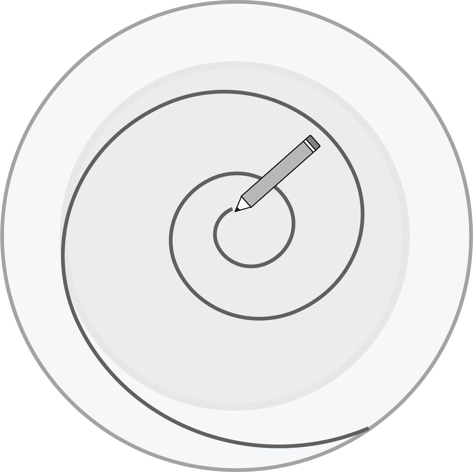 Illustration depicts a pencil drawing a spiral on a paper plate