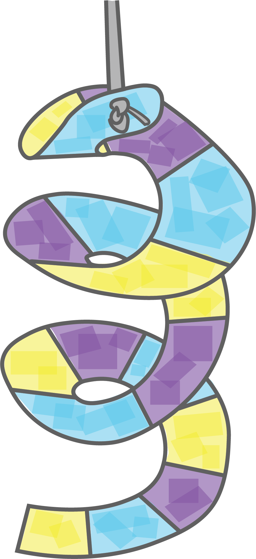 Illustration depicts a spiral sculpture in yellow, blue and purple
