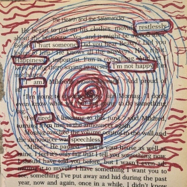 "Blackout poetry with blue and red circles, leaving the words  ""restlessly/i hurt someone/happiness/i'm not happy/i am/tired/speechless"""