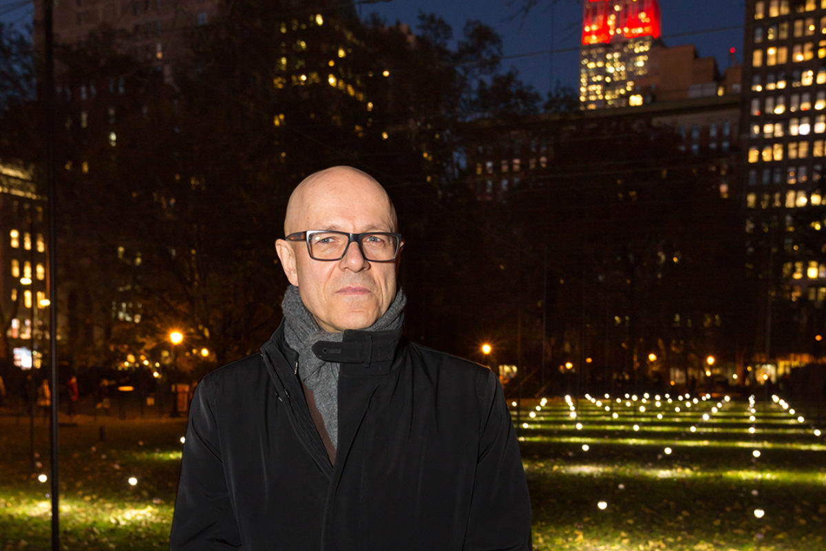 Erwin Redl in front of Whiteout in Madison Square Park. Photo courtesy of Moorehart Photography.