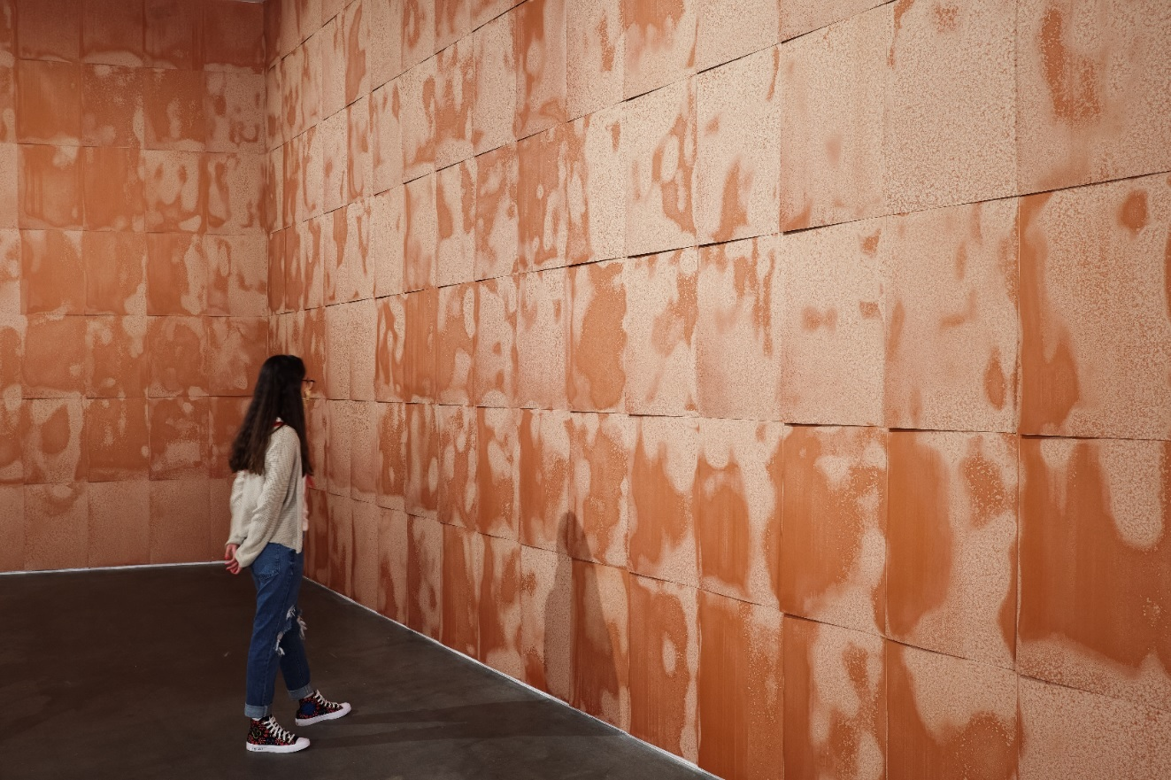 A standing person looks at brown tiles covering a wall